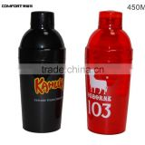 450ml portable clear plastic glass protein shaker