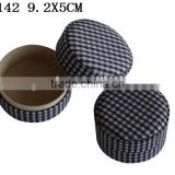 Round Design Cufflink Gift cardboard Packaging with fabric outside and velvet inside P142