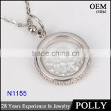 925 silver artificial diamond round ring pendant for women large sterling silver pendant