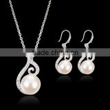 new fashion imitation pearl silver filled necklace sets
