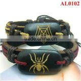 Retro Couple lovers bracelet with leather&hemp&ox bones carved spider and spider web AL0102