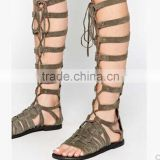 China brand casual shoes latest ladies flat sandals hollow out style lace up flat sandal boots