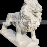 Natural stone white marble lion sculpture