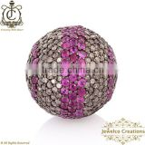 Pave Diamond Ruby Gemstone Beads , Diamond Pave Beads & Ball, 925 Sterling Silver Vintage Jewelry, Fashion Beads Findings