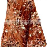 HV2-4 brown latest heavy velvet lace embroidered sequins velvet fabric with stones
