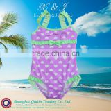 Toddler Girls Swimsuit with printed heart , contrasted frills at straps,leg and front chest adorned by lovely bow.