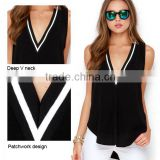 2016 black sexy Deep V-neck woman tops fashion ladies t-shirt with patchwork design                                                                         Quality Choice