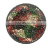 Dia 15 cm Round Classic Mosaic Glass Candle Tray /Mosaic Candle Plate                                                                         Quality Choice