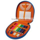 "3.5"" 12color pencil. 1pcs sharpener. 1pc eraser.and 1pc ruler.1 pc note book, metal box packing."