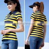 simple design popular flat knit stripe t-shirt or woman blouse 2015 and blouse ladies with a low prices