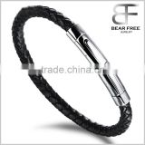 Fashion leather bracelet jewelry bangle bracelet made of black leather with stainless steel clasp