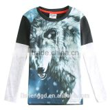 (A5810D) 2-6y children clothing nova brand kids t shirts cotton printed wolf cool 3D animal casual baby boys wear