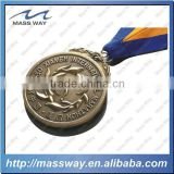 old color embossed customized 3D antique brass medal