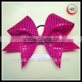 Fushia Confetti Mesh Faux Sequin Cheer Bow Fushia Glitter Center ponytail holder                                                                         Quality Choice