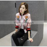 Italy brand new design Chinese style lotus embroidery pattern leather jacket for lady                                                                                                         Supplier's Choice