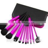 Hot Sell Magenta Color 11PCS Goat Hair Aluminium Tapered Handle Makeup Brush Set With PU Pouch