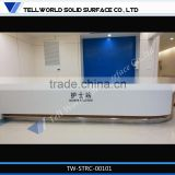 White high glossy modern shop solid surface showroom counter designs