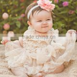 Lovely wholesale boutique kids light pink tube lace dress princess baby lace frock designs