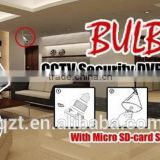 Wireless Bulb cctv security camera with micro sd memory card storage