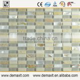 Higt quality hand-painted strip crystal glass mix marble mosaic tile for bar wall