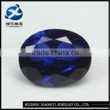 sapphire blue color oval cut synthetic corundum gemstone