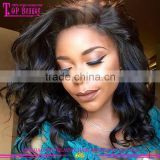 2016 Hot sale brazilian human hair short lace wigs 10 inches loose curly full lace wig short wavy bob wigs