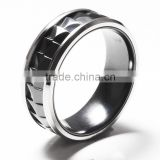 Mixed material carved titanium rings stainless steel with carved black zirconium inlaid rings