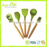 BPA Free 5pcs Set Silicone Kitchen Utensils with Bamboo Handle, Kitchenware Cooking Tool, Brush Spatula Spaghetti Turner Ladle