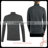 Long Sleeve Grey Rib Roll Neck t shirt for man wholesale OEM solid color grey men's long sleeve t shirt