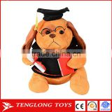 2018 chinese new year stuffed plush dog toy graduation plush toy with cap and diploma in hand