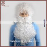 Fashion White Long Curl Synthetic Christmas Cosplay Santa's Beard Wig