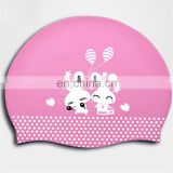 Cute Silicone Swim Cap with cusomized printing logo