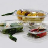 Disposable plastic container, take away food container, clear PET food package box of all sizes,rectangular container, round cup