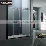 Modern Design Frameless Double Open Space Saving Drop-in Freestanding Glass shower door K-28