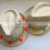 summer straw handmade fedora hat with tassels to decorate for girl