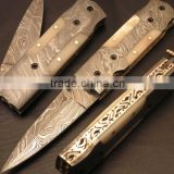 "udk f21"" custom handmade Damascus pocket knife / folding knife with full Damascus steel and bone handle"