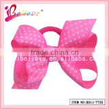 Fast delivery handmade grosgrain dot ribbon bow elastic hairband for young girls (XH11-7753)