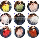 Fashion Ladies Cheap Acrylic Tassel Circle Knitted Loop Scarf
