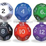 high quality colored cusom 12 sided dice with number embossed