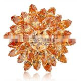 wedding invitation jewelry wholesale gold plated flower shape bridal crystal rhinestone brooch