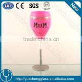 spectacular pink handcraft unique wine glass with symbols wholesale