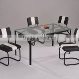 Modern Dining Set/ Glass Table and Black and white stripes Chairs