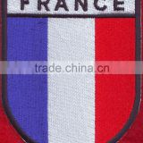 wholesale high quality France flag logo embroidered flag patches design custom embroidery patch