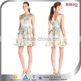 top trendy brilliant women dress chiffon sleeveless round neck backless layered A-line above knee mini casual dress