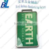 Epoxy coat rectangle famous brand metal golf bag tag