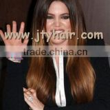 "Hot Beauty 22"" Ombre Two Tone Silky Straight, Natural Hairline, Brazilian hair full lace wig"