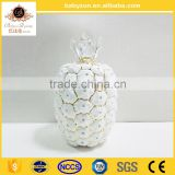 "OEM design charming antique luxury 16""ceramic porcelain art pinapple with gold for chrismas decorations"