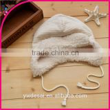 the spring and autumn winter striped pattern composite lambs wool inside the newborn cap baby hats