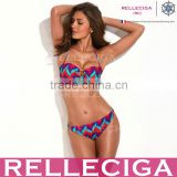 RELLECIGA Colorful Wavy Pattern Bandeau Top Bikini Set Swimwear with Goldtone Hardware Ring Decos