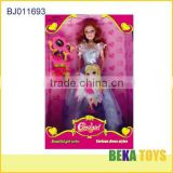 beautiful princess toy with elegant purple cloth elegant doll with cosmetic accessories